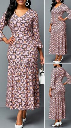 Flare Sleeve Geometric Print Plunging Neck Dress HOT SALES beautiful dresses, pretty dresses, holiday fashion, dresses outfits… in 2020 Short African Dresses, Latest African Fashion Dresses, African Print Dresses, African Print Fashion, African American Fashion, Ankara Dress Styles, Shweshwe Dresses, African Traditional Dresses, African Attire