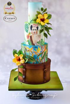 Frida Kahlo Wedding Cake by Sylwia Sobiegraj The Cake Designer Wedding Cakes With Flowers, Beautiful Wedding Cakes, Gorgeous Cakes, Amazing Cakes, Flower Cakes, Creative Wedding Cakes, Wedding Cake Designs, Frida Kahlo Wedding, Cake Show