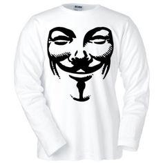 Camiseta V de Vendetta -máscara- manga larga blanca (Talla: Talla XXL Unisex Ancho/Largo [60cm/75cm] Aprox]) #regalo #arte #geek #camiseta