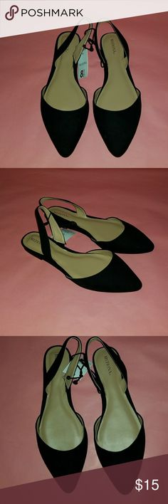 Black Faux Suede Flats Faux Suede. Slingback Flats. Size 8.5. *NWT* Merona Shoes Flats & Loafers