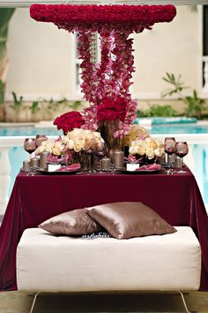 dark pink and cream table setting