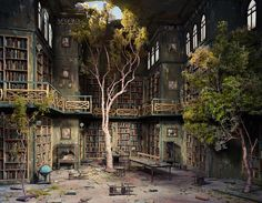 """""""Library"""" (2007) (image via The Drawing Room), photograph by artist Lori Nix and partner Kathleen Gerber 2005 - diorama of a  post-apocalyptic library taken over by nature."""