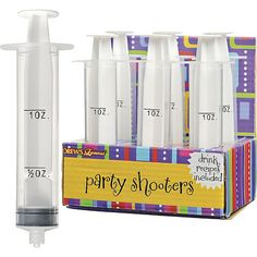 Party Shooter Syringe Shots - Party City for half dozen. Halloween Cups, Halloween Party Decor, Halloween Ideas, Halloween Shots, Twin Halloween, Halloween Games, Halloween 2020, Halloween Costumes, Party Drinks