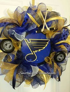 Check out this item in my Etsy shop https://www.etsy.com/listing/262447491/st-louis-blues-hockey-team-sports-wreath