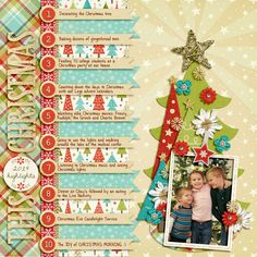 #scrapbooking #layout Christmas Scrapbook Layout using Trifecta 10 - Holiday Spirit templates by Brook Magee, Memorable - Christmas by Kristin Cronin-Barrow and Zoe Pearn