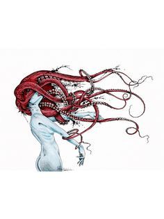 Octopus Art Print by taojb Octopus Drawing, Octopus Tattoo Design, Octopus Art, Drawing Sketches, Art Drawings, Arte Cyberpunk, Unique Drawings, Arte Horror, Mermaid Art
