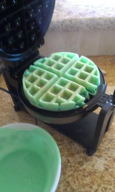 St. Patties day Waffles I made :)
