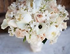 The bouquet was created of white lilac ( sahara roses, white mini calla lily, white peony, and white stephanotis. Romantic Wedding Flowers, Bride Flowers, Bridesmaid Flowers, Bride Bouquets, Flower Bouquets, Bouquet Wedding, Wedding Show, Spring Wedding, Dream Wedding