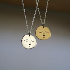 Tranquil Face Pendant Perfectly Imperfect, Sterling Silver Chains, How To Draw Hands, Pendants, Pendant Necklace, Mood, Face, Crafts, Handmade