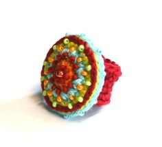 Embroidered and beaded crochet ring by Carnela Crochet Rings, Love Crochet, Bead Crochet, Knitting Projects, Crochet Projects, Knit Bracelet, Textile Jewelry, Jewellery, Bijoux Diy