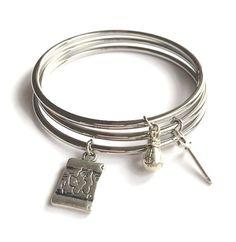 Pirate Bangle Bracelet Set Pirate Stacking by JulemiJewelry