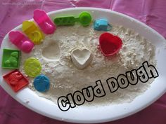 We just made this cloud dough and it was so simple to create! My little guy loved playing in it, especially with his feet!