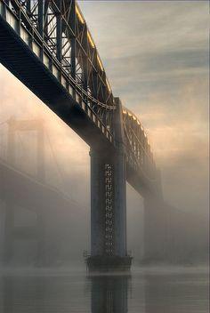 Royal Albert Bridge, by Isambard Kingdom Brunel.  Spans the River Tamar between Plymouth in Devon, and Saltash in Cornwall.