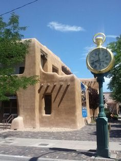 Clock outside of the Museum of Fine Arts on the Plaza, Santa Fe