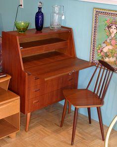 Teak Secretary Desk Twice Found Vintage Modern Old Faces New Es Furniture In Interiors Pinterest Desks