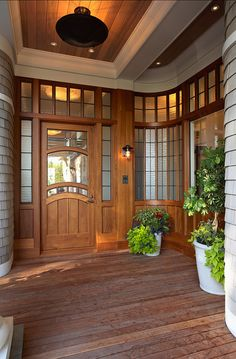 Front Door Entry with Curved Windows