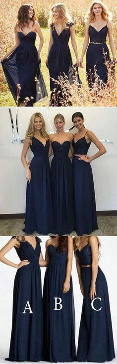 Convertible New Design Elegant Lace Chiffon Navy Blue A Line Floor-Len – LoverBridal