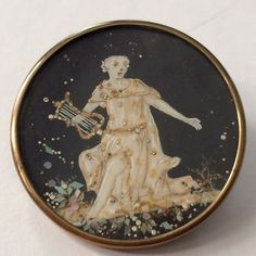 """GORGEOUS AND UNUSUAL 18TH C. BUTTON 1 7/16""""--sold for $250. Someone is SERIOUS about buttons."""