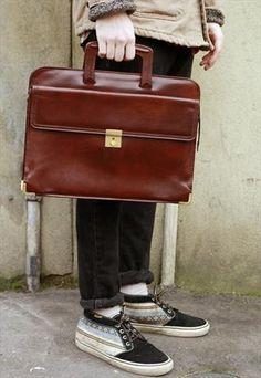 Vintage '90s Italian Brown Leather Gent's Satchel Bag £45.00