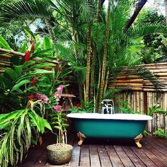 love the lush bamboo and surroundings for the tub in outdoor space. I could deal with this for the outdoor tub we have. Outdoor Bathtub, Outdoor Bathrooms, Outdoor Rooms, Outdoor Gardens, Outdoor Living, Outdoor Showers, Modern Bathrooms, Indoor Outdoor, Garden Deco
