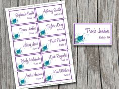 Wedding Place Cards Template | Purple Peacock Blue Green Table Card | Place Setting Escort Card | Peacock Feather Wedding Download by PaintTheDayDesigns, $8.00