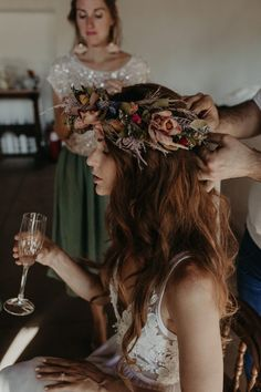 Festival Chic Destination Wedding in Andalusia, Spain - This dried flower crown added a touch of earthy vibes to this bride's wedding look Boho Wedding Hair, Wedding Hair Flowers, Flowers In Hair, Wedding Bride, Bridal Hair, Dream Wedding, Wedding Dresses, Wedding Crowns, Wedding Shot
