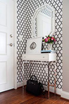 JWS Interiors - entrances/foyers - trellis wallpaper, moroccan trellis wallpaper, moorish tile wallpaper, black and white wallpaper, black a...