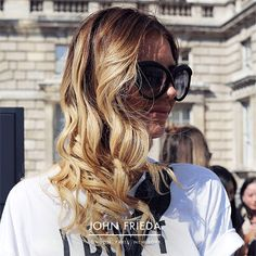 Recreate this glamorous festival style with a large barrel tong & plenty of shine. Achieve a high-octane shine with the handbag-friendly John Frieda Frizz Ease Glossing Mist.  #FestivalHair #FestivalStyle #FestivalBeauty