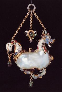 Flemish manufacture-pendant in the form of marine animal in gold, enamel, precious pearl Piettre Scaramazza-XVI century- Christie-Geneva Enamel Jewelry, Pearl Jewelry, Jewelry Art, Antique Jewelry, Gold Jewelry, Vintage Jewelry, Fine Jewelry, Jewelry Design, Renaissance Jewelry