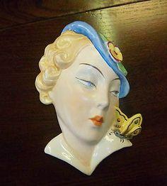Art Deco Royal Dux Wall Mask Czech 1930s rare Butterfly girl superb | eBay