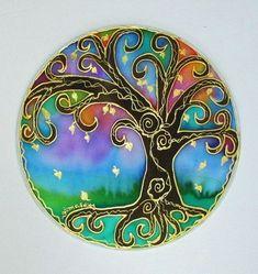 Tree of Light Mandala art spirtual art silk by HeavenOnEarthSilks, $34.00
