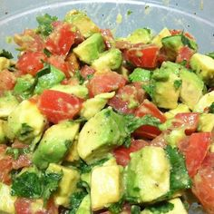 Avocado, tomato, lemon juice, salt, pepper