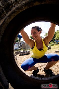Tire flip and still smiling...just another reason to love Spartan Chicks!  #SpartanChicked #SpartanRace www.spartanrace.com