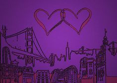 """Two Hearts Over San Francisco"" by emilybrownart 