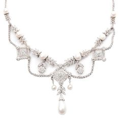 1stdibs - Edwardian Diamond and Oriental Pearl  Necklace explore items from 1,700  global dealers at 1stdibs.com