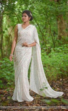 Rouge Burst Pure Silk-Chiffon Printed Saree   Etsy Modern Saree, White Saree, Original Design, Banarasi Sarees, Saree Dress, Printed Sarees, Beautiful Saree, Silk Chiffon, Indian Sarees