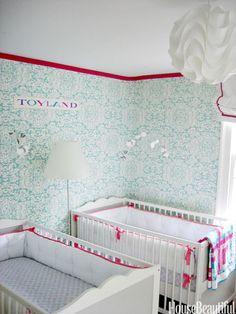 Nursery design ideas for twins on pinterest twin for Baby twin bedroom ideas