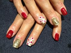 Red and gold glitter and polka dots