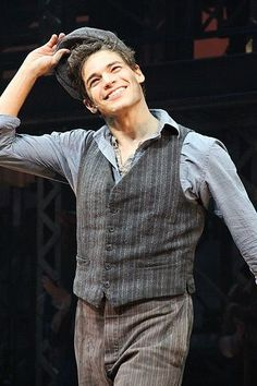 Jeremy Jordan as Jack Kelly in Newsies. First at Paper Mill, soon on Broadway! Theatre Nerds, Musical Theatre, Theater, Newsies Costume, Jack Kelly, Tuck Everlasting, Theatre Problems, Theatre Quotes, Dear Evan Hansen