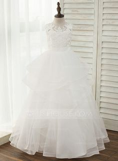 22838a7da25 Ball Gown Floor-length Flower Girl Dress - Tulle Lace Sleeveless Scoop Neck  With Back Hole - JJsHouse