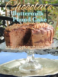 Chocolate Buttermilk Pound Cake is our favorite, especially if you're a chocolate lover. I made icing last night but it is perfect without. Chocolate Buttermilk Pound Cake Recipe, Almond Pound Cakes, Pound Cake Recipes, Easy Cake Recipes, Sweet Recipes, Dessert Recipes, Chocolate Desserts, Chocolate Tarts, Chocolate Cupcakes