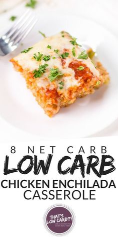 Keto Low Carb Chicken Enchilada Casserole Made With A Few Ingredients For A Quick And Comforting Dinner For The Family. It Is Cheesy, Creamy And Packed Full Of Flavor. Can't Go Wrong With This One. Via Thatslowcarb Low Carb Chicken Casserole, Chicken Enchilada Casserole, Low Carb Chicken Recipes, Low Carb Dinner Recipes, Casserole Recipes, Mexican Food Recipes, Real Food Recipes, Chicken Meals, Healthy Chicken