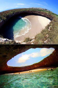 Amazing Hidden Beach on Marietas Islands in Puerto Vallarta, Mexico