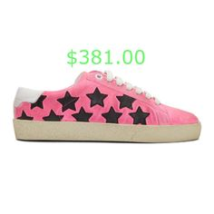 $381.00 Low-top suede sneakers in pink. Subtle distressing and leather star appliques in black throughout. Round toe. White lace-up closure. Logo stamp in gold-tone at padded tongue. Padded collar. Logo stamp in gold-tone at white leather heel tab. Leather and twill interior in white. Treaded rubber sole in off-white. Supplier color: Fluo pink #luxuryfashion #luxuryfashiontrends #luxurybrandfashion Leather Heels, White Leather, White Lace, Lace Up, Logo Stamp, Suede Sneakers, Appliques, Luxury Fashion, Saint Laurent