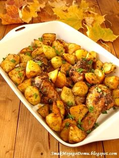 Kurczak w ziołach, pieczony z ziemniakami Chicken Wings, Potato Salad, Cauliflower, Menu, Potatoes, Vegetables, Ethnic Recipes, Food, Drink