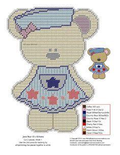 Plastic canvas patriotic bear girl