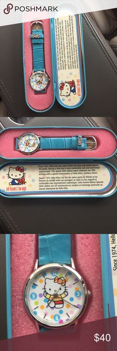 Hello kitty 30th anniversary watch 2004 watch. New/with tin. Very cute. Wonderful condition!! Sanrio Accessories Watches