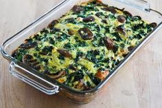 Kale, Mushroom, Feta, and Mozzarella Breakfast Casserole [from KalynsKitchen.com]