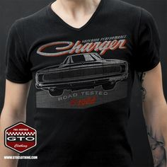 Dodge Charger V T-Shirt -Our personal favourite classic US Muscle car of all times, so we thought we should show some love with a great retro looking design. Also available for the youngest muscle car lovers out there! Order; www.gtoclothing.com