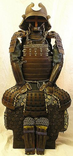 SOLD!!!>>For sale, OKEGAWA NI-MAI-DO KOSAKURA ODOSHI GUSOKU, 12 plate goshozan suji bachi lacquered in brown sabi nuri, the interior with an inscription in worn red lacquer dating to Anei 3 (1774) *. Complete with a gusoku bitsu and armour stand. Read more: http://nihon-no-katchu.proboards.com/thread/384/okegawa-kosakura-odoshi-gusoku-sale#ixzz2cppFv9KH